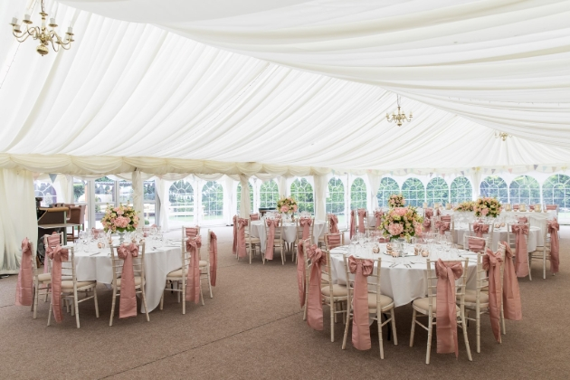 The Cromwell Arms, marquee set up for wedding breakfast