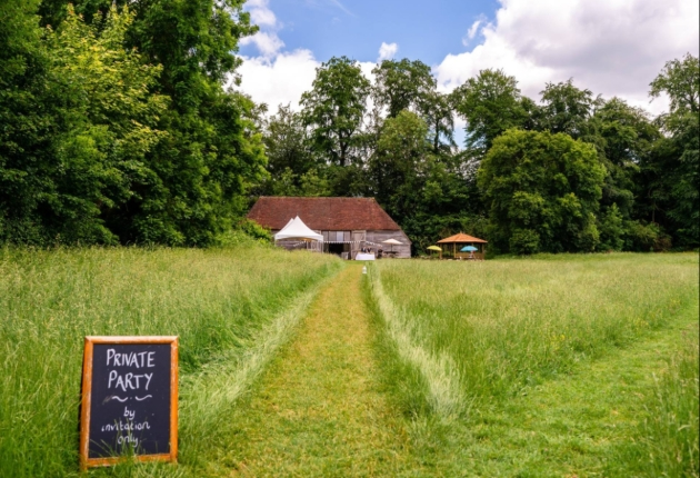 Gilbert White & The Oates Collections, barn in field surrounded by trees