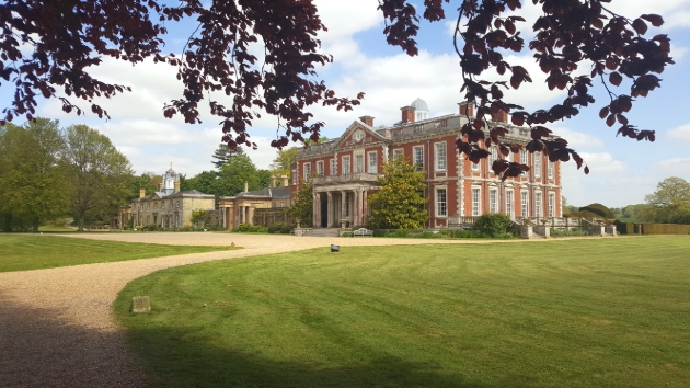 Stansted Park, Rowlands Castle, red brick historic building at ended of lawned drive