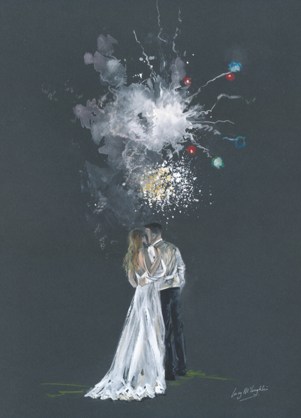 painting of a couple looking at fireworks