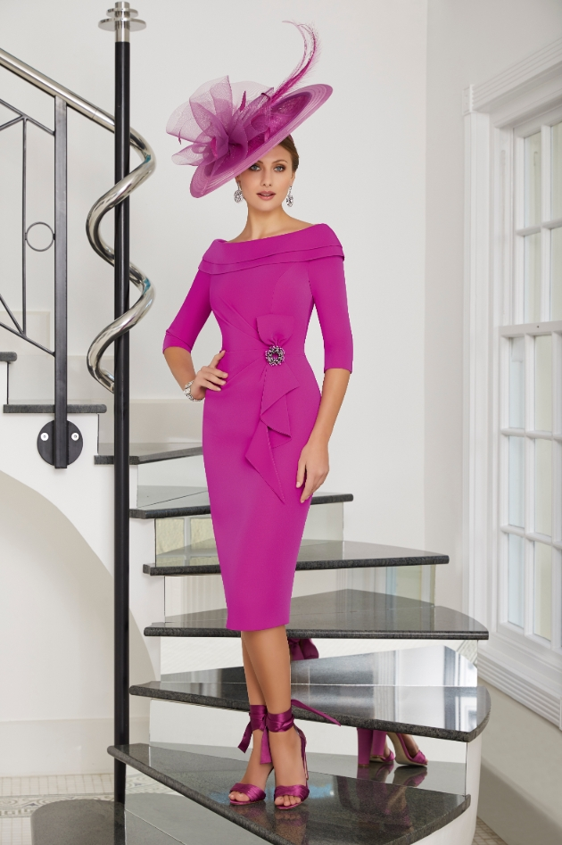 bright pink outfit worn by model