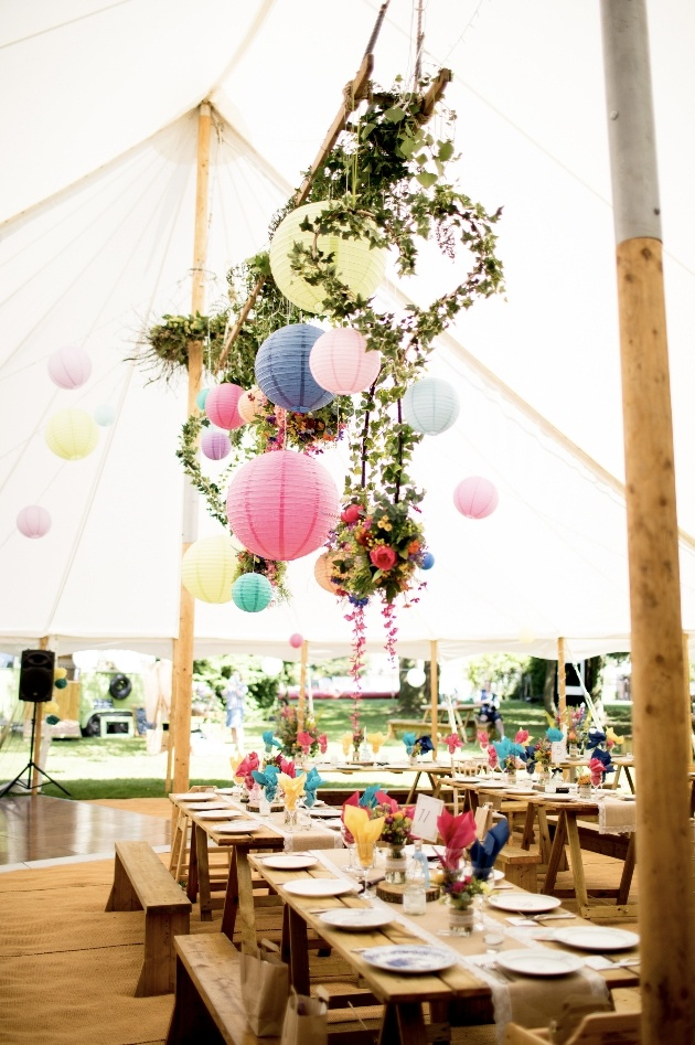 Hanging lanterns and florals