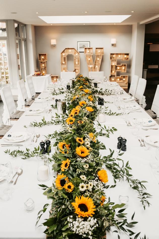 Sunflower table garland